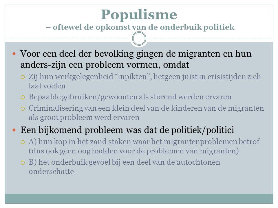 Populisme – oftewel de opkomst van de onderbuik politiek Voor een deel der bevolking gingen de migranten en hun anders-zijn een probleem vormen, omdat