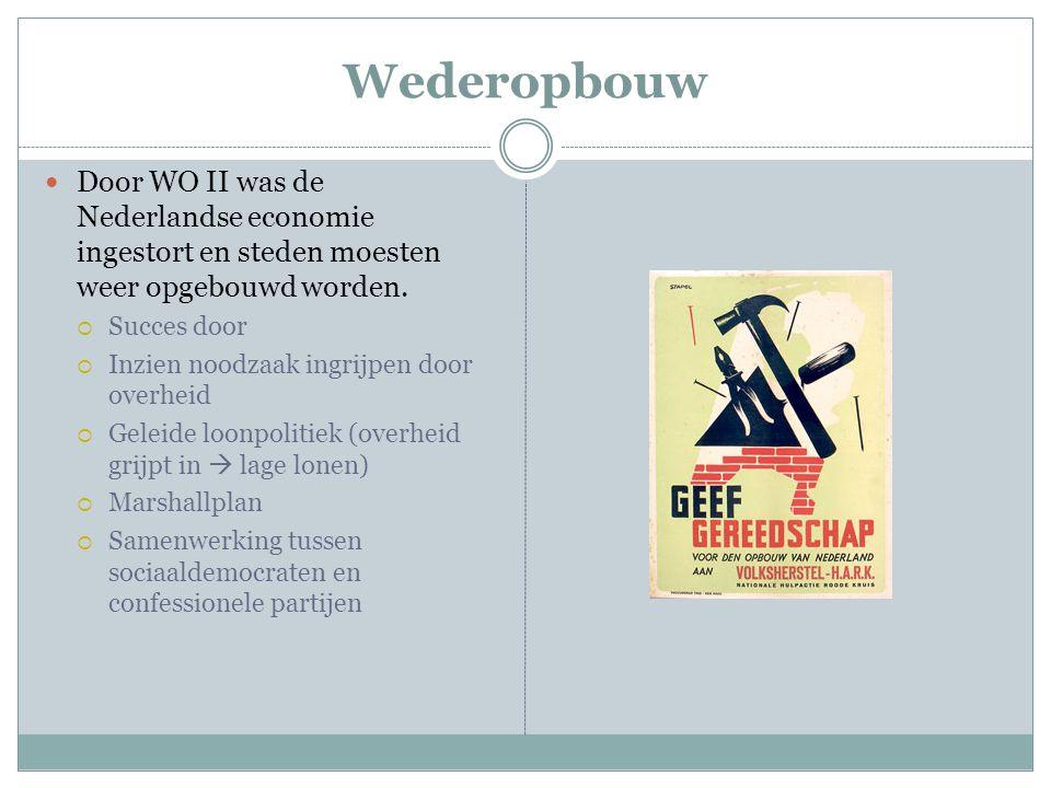 Wederopbouw Door WO II was de Nederlandse economie ingestort en steden moesten weer opgebouwd worden.  Succes door  Inzien noodzaak ingrijpen door o