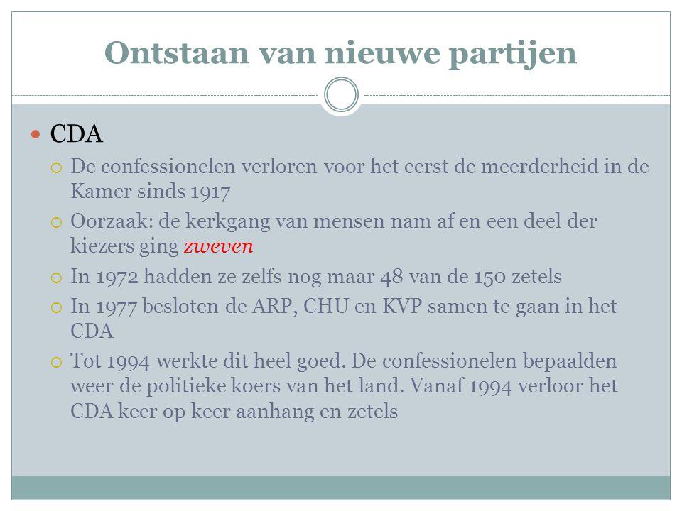 Ontstaan van nieuwe partijen CDA  De confessionelen verloren voor het eerst de meerderheid in de Kamer sinds 1917  Oorzaak: de kerkgang van mensen n