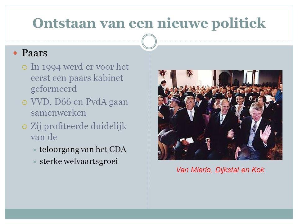 Ontstaan van een nieuwe politiek Paars  In 1994 werd er voor het eerst een paars kabinet geformeerd  VVD, D66 en PvdA gaan samenwerken  Zij profite