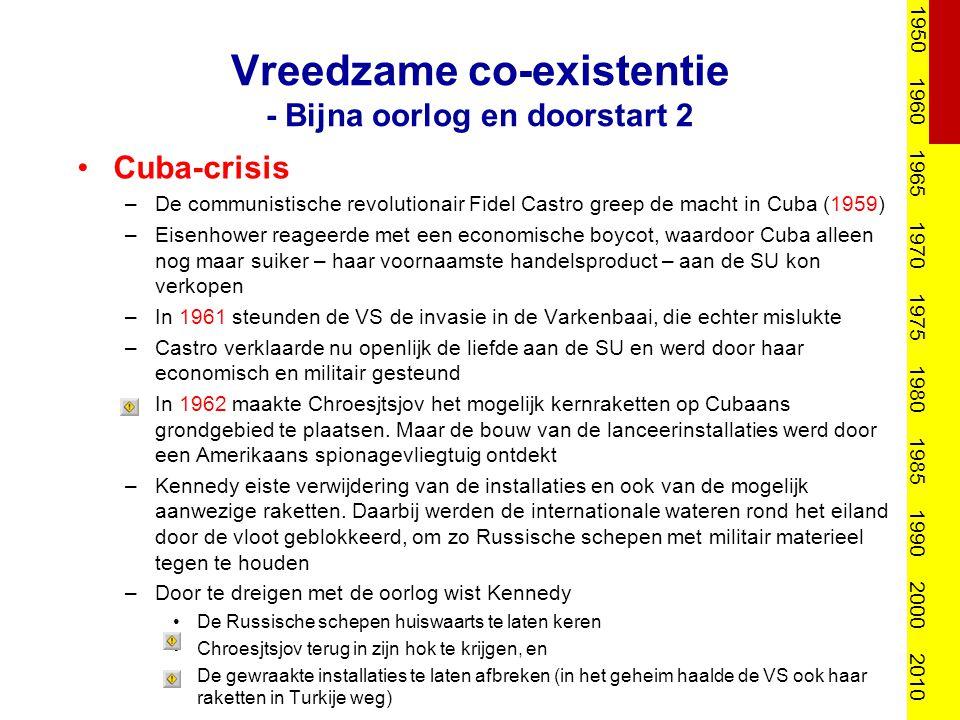 Vreedzame co-existentie - doorstart Na de Cuba-crisis –werd de hot line geïnstalleerd –werd besloten voortaan beter en het liefst op voorhand dergelijke problemen/rijzende conflicten te tackelen 1950 1960 1965 1970 1975 1980 1985 1990 2000 2010