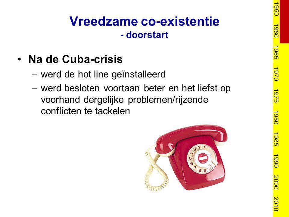 Vreedzame co-existentie - doorstart Na de Cuba-crisis –werd de hot line geïnstalleerd –werd besloten voortaan beter en het liefst op voorhand dergelij