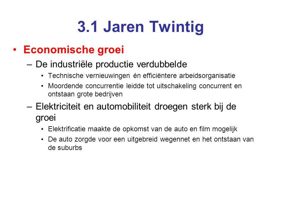 3.1 Jaren Twintig Economische groei –De industriële productie verdubbelde Technische vernieuwingen én efficiëntere arbeidsorganisatie Moordende concur