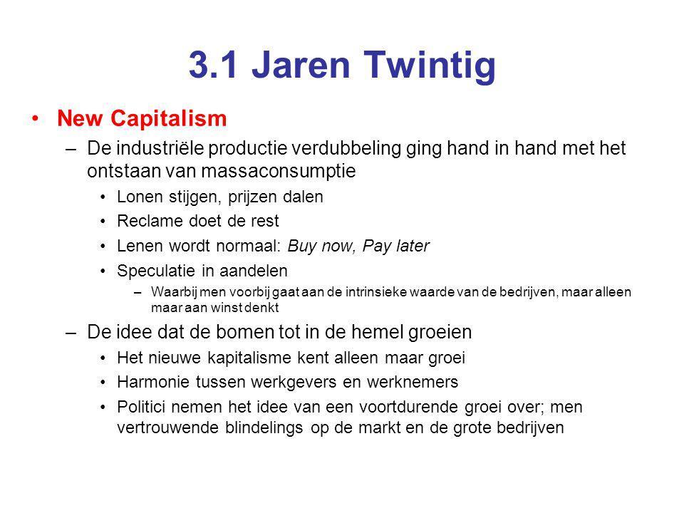 3.1 Jaren Twintig New Capitalism –De industriële productie verdubbeling ging hand in hand met het ontstaan van massaconsumptie Lonen stijgen, prijzen
