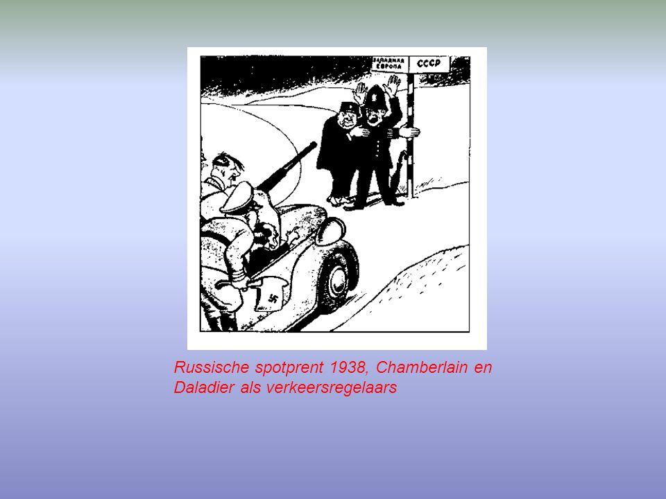 Russische spotprent 1938, Chamberlain en Daladier als verkeersregelaars