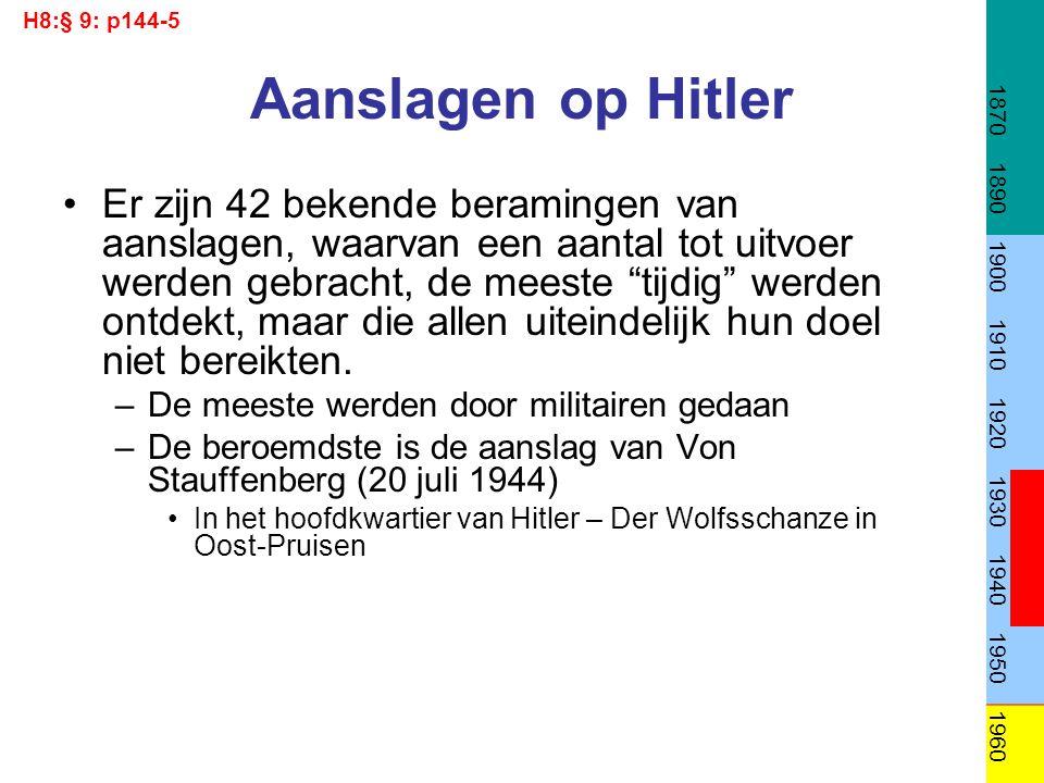 """Aanslagen op Hitler Er zijn 42 bekende beramingen van aanslagen, waarvan een aantal tot uitvoer werden gebracht, de meeste """"tijdig"""" werden ontdekt, ma"""