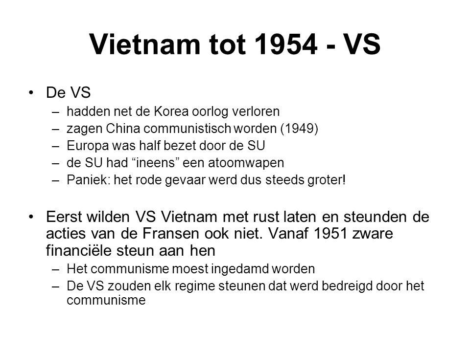 Vietnam tot 1954 - VS De VS –hadden net de Korea oorlog verloren –zagen China communistisch worden (1949) –Europa was half bezet door de SU –de SU had