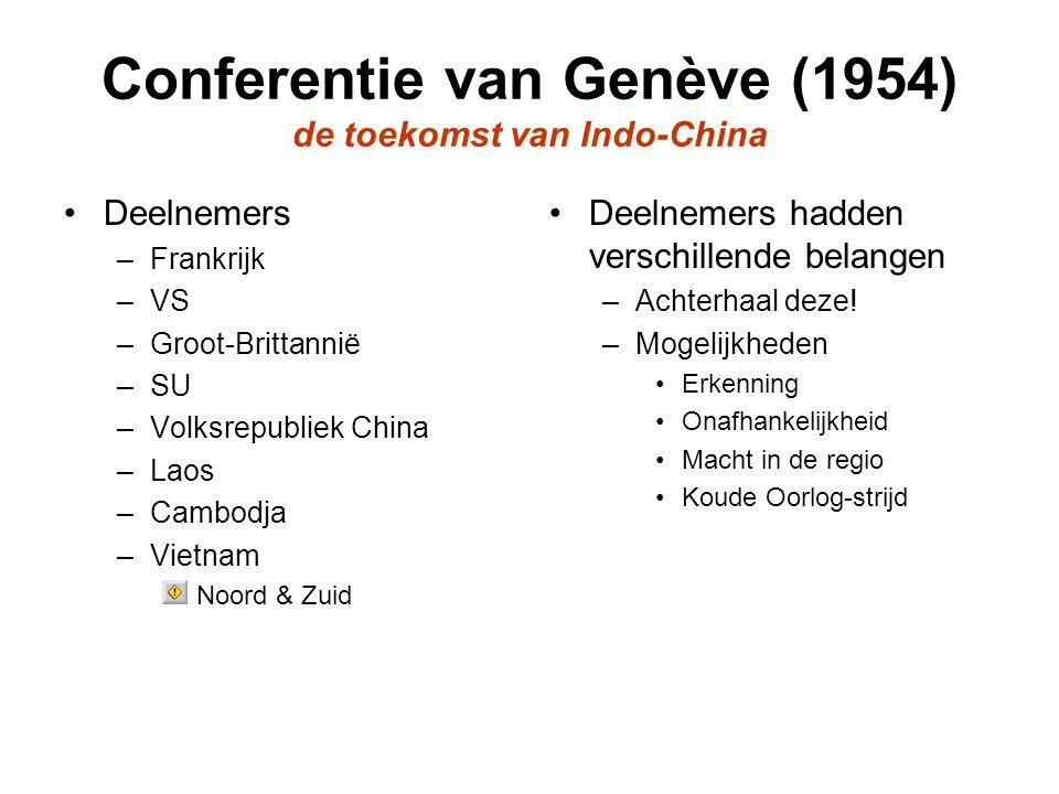 Conferentie van Genève Resultaten –Laos & Cambodja onafhankelijk; geen invloed derden –Voorlopige tweedeling Vietnam (17 e breedtegraad) Zware druk SU & China Voorwaarde –Binnen 2 jaar vrije verkiezingen –Noorden blijft onder controle Ho –Geen nieuwe troepen in Vietname –Geen wapeninvoer –Geen lid Zoavo (Aziatische NAVO) VS tekende niet, maar had een plan achter de hand