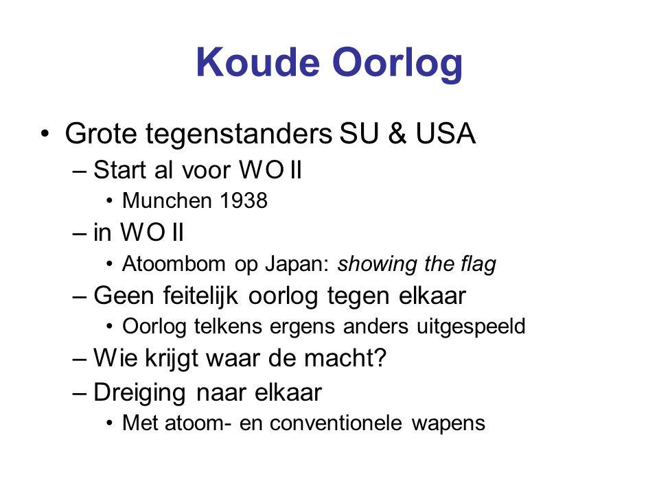 Koude Oorlog Grote tegenstanders SU & USA –Start al voor WO II Munchen 1938 –in WO II Atoombom op Japan: showing the flag –Geen feitelijk oorlog tegen elkaar Oorlog telkens ergens anders uitgespeeld –Wie krijgt waar de macht.