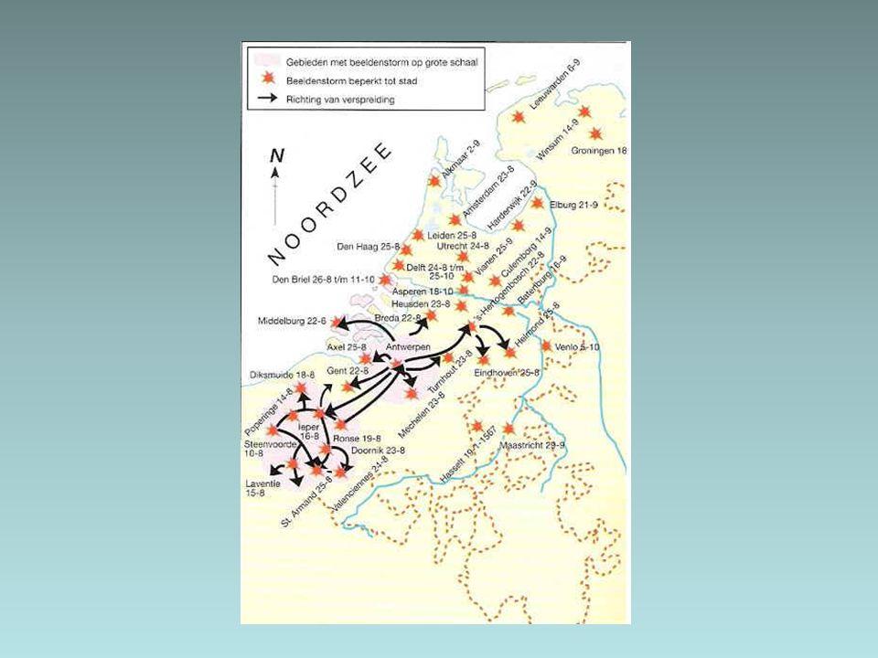2.2 Opstand in de Nederland (1566-1576) De landvoogdes wist de orde op praktische wijze te herstellen.