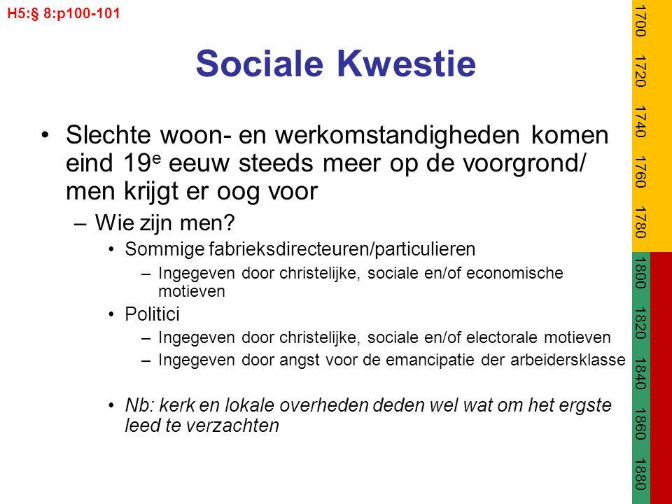 Sociale Kwestie Slechte woon- en werkomstandigheden komen eind 19 e eeuw steeds meer op de voorgrond/ men krijgt er oog voor –Wie zijn men? Sommige fa