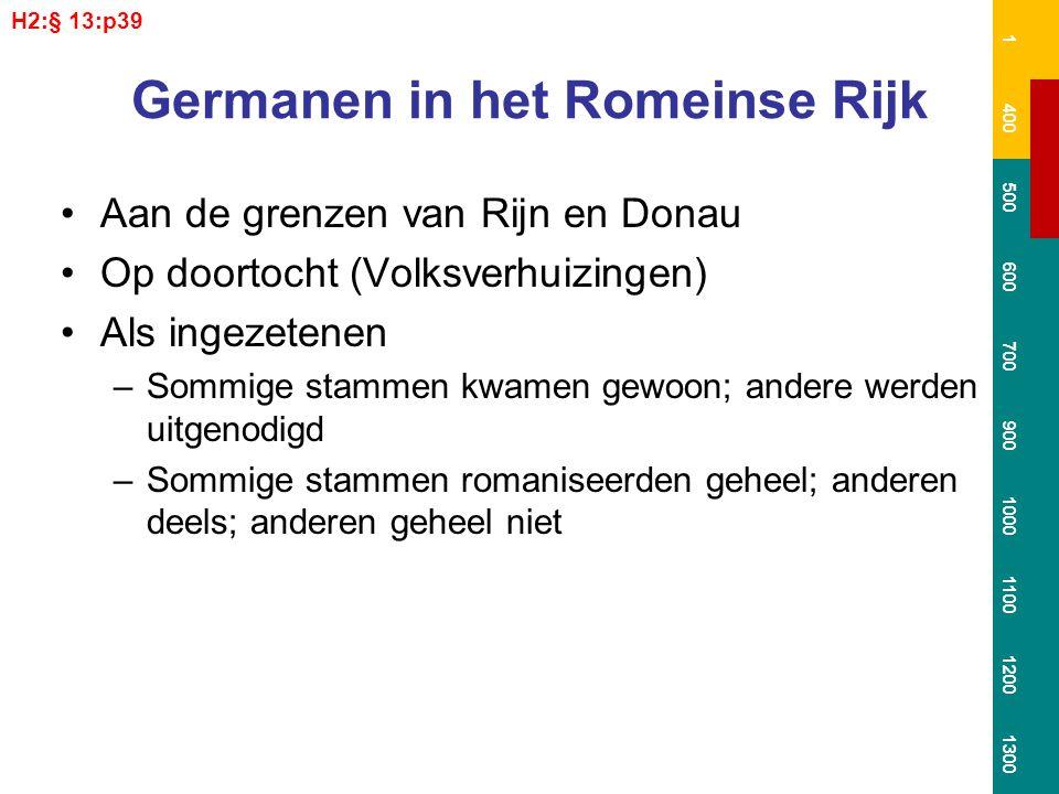 Germanen in het Romeinse Rijk Aan de grenzen van Rijn en Donau Op doortocht (Volksverhuizingen) Als ingezetenen –Sommige stammen kwamen gewoon; andere