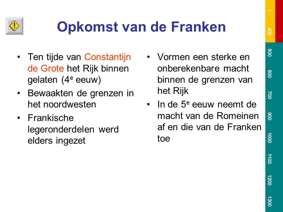 Opkomst van de Franken Ten tijde van Constantijn de Grote het Rijk binnen gelaten (4 e eeuw) Bewaakten de grenzen in het noordwesten Frankische legero