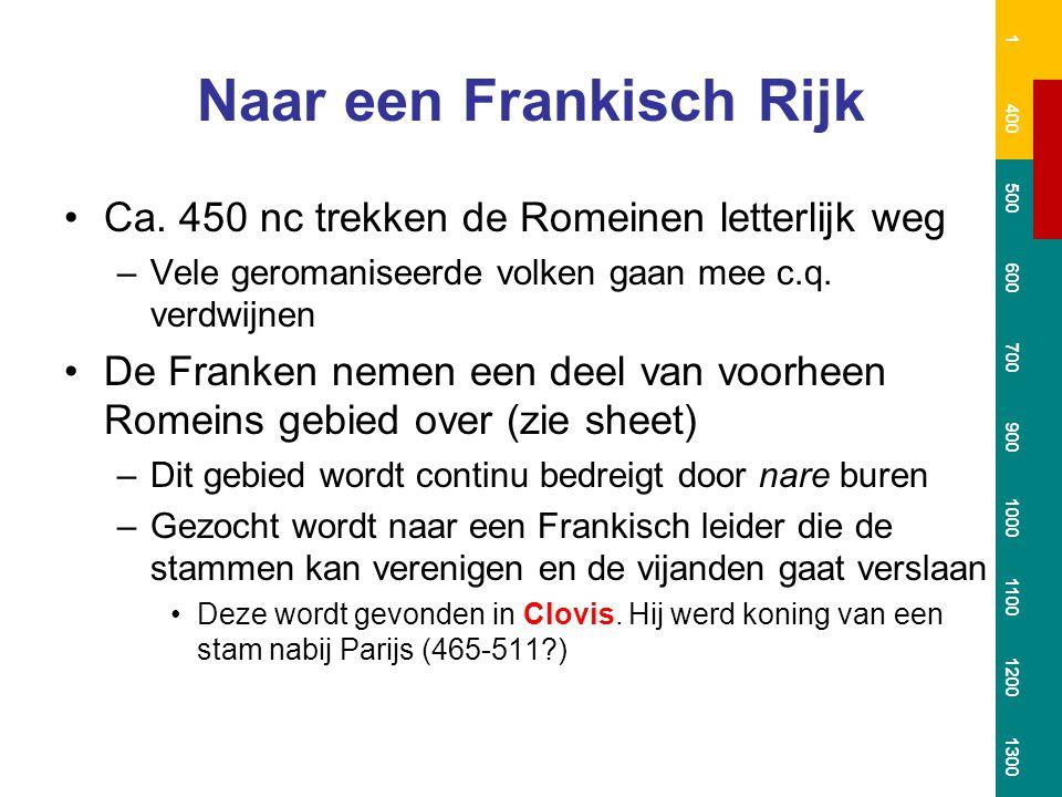 Naar een Frankisch Rijk Ca. 450 nc trekken de Romeinen letterlijk weg –Vele geromaniseerde volken gaan mee c.q. verdwijnen De Franken nemen een deel v