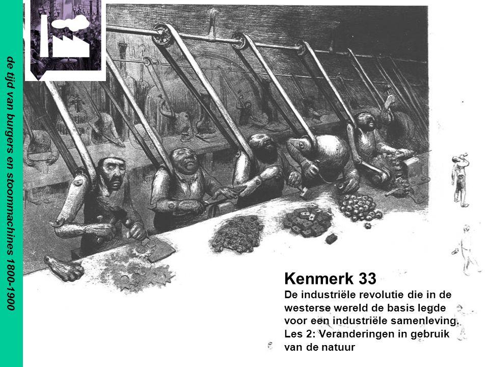 Kenmerk 33 De industriële revolutie die in de westerse wereld de basis legde voor een industriële samenleving. Les 2: Veranderingen in gebruik van de