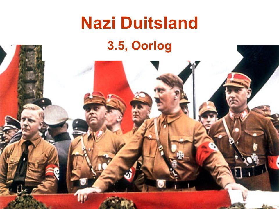 Buitenland & Duitsland Volkenbond –Duitsland werd wel lid, maar pas in 1928 en Hitler vond dit in 1933 wel weer lang genoeg geweest Vrede van Versailles –Hitler had zijn kiezers al beloofd hier iets aan te gaan doen –Vergrootte leger –Trok 1936 Rijnland binnen –Appeasement politiek van de Britten maakte dit mogelijk –Anschluss 1938 Heim ins Reich