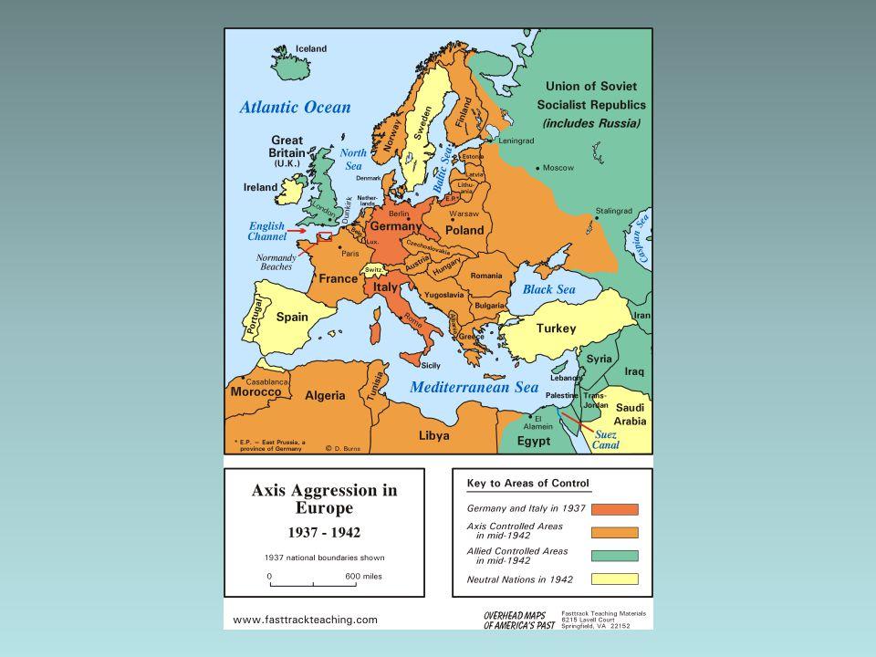 Keerpunten Eigenlijk ging het tot de aanval op SU heel goed Tegenvaller –Engeland wilde geen vrede (Hitler speculeerde hierop) Keerpunten –Stalingrad (december-januari 1942/1943) –El Alamein (oktober 1942) –D-Day (juni 1944) en grootschalige bombardementen op Duitse steden –Mei 1945 geeft Duitsland zich over vlak na de zelfmoord van Hitler