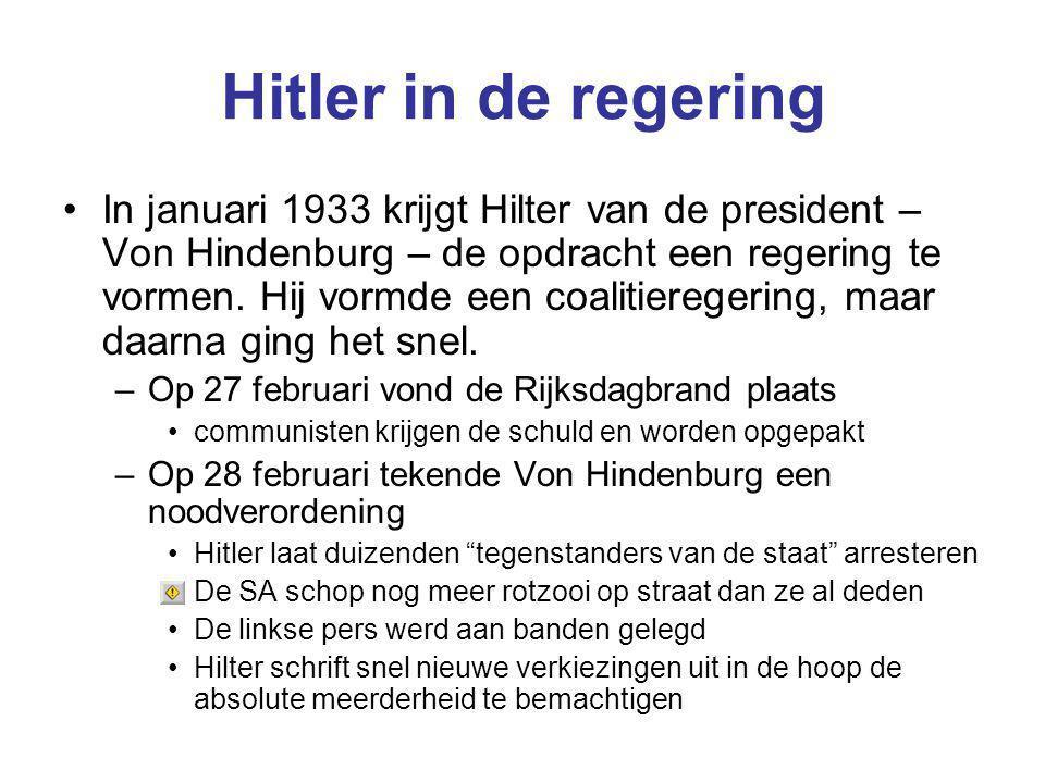 Hitler aan de macht De verkiezingen van maart (zie tabel) leverden geen absolute meerderheid op.