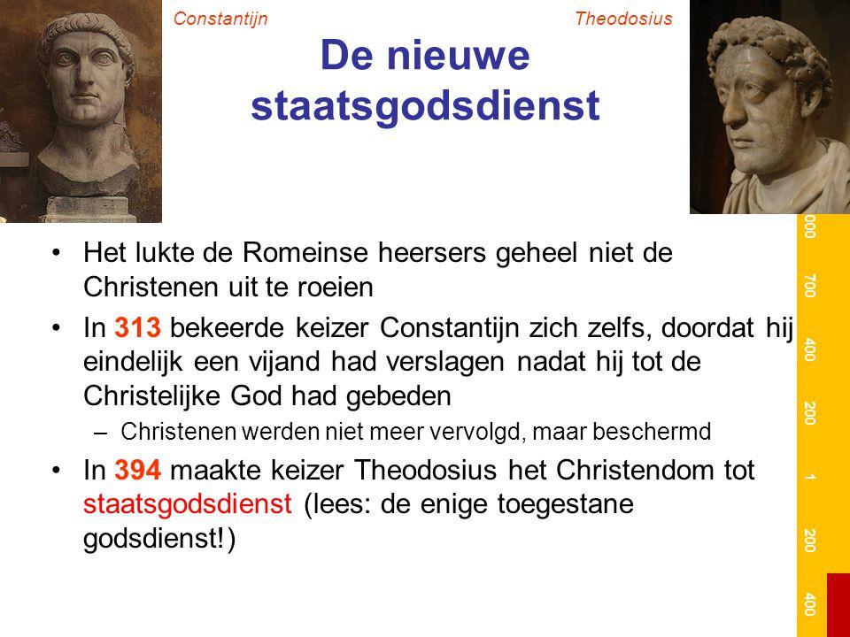 De nieuwe staatsgodsdienst Het lukte de Romeinse heersers geheel niet de Christenen uit te roeien In 313 bekeerde keizer Constantijn zich zelfs, doord