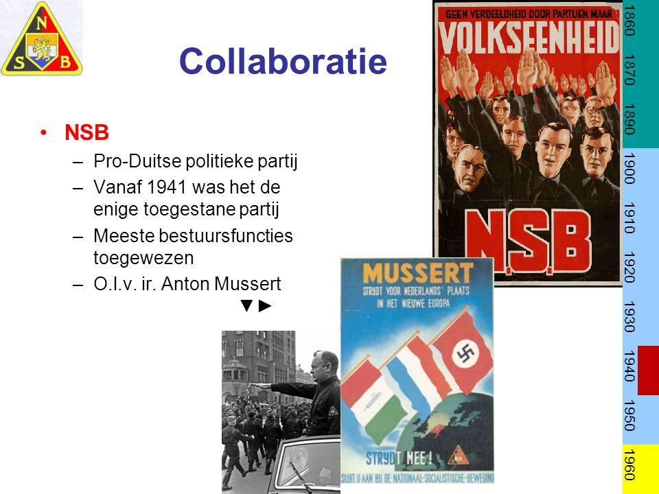 Collaboratie NSB –Pro-Duitse politieke partij –Vanaf 1941 was het de enige toegestane partij –Meeste bestuursfuncties toegewezen –O.l.v. ir. Anton Mus