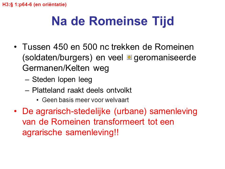 Na de Romeinse Tijd Tussen 450 en 500 nc trekken de Romeinen (soldaten/burgers) en veel geromaniseerde Germanen/Kelten weg –Steden lopen leeg –Plattel