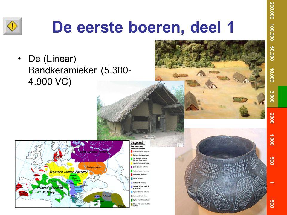 De eerste boeren, deel 1 De (Linear) Bandkeramieker (5.300- 4.900 VC) 200.000 100.000 50.000 10.000 3.000 2000 1.000 500 1