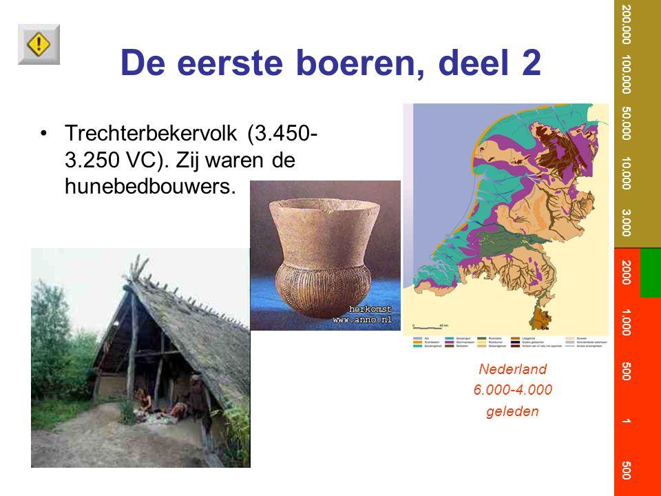 De eerste boeren, deel 2 Trechterbekervolk (3.450- 3.250 VC). Zij waren de hunebedbouwers. Nederland 6.000-4.000 geleden 200.000 100.000 50.000 10.000