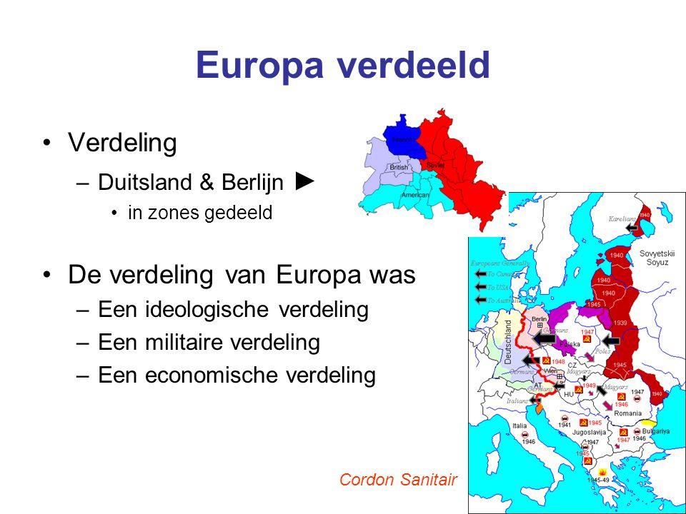Europa verdeeld Verdeling –Duitsland & Berlijn ► in zones gedeeld De verdeling van Europa was –Een ideologische verdeling –Een militaire verdeling –Ee