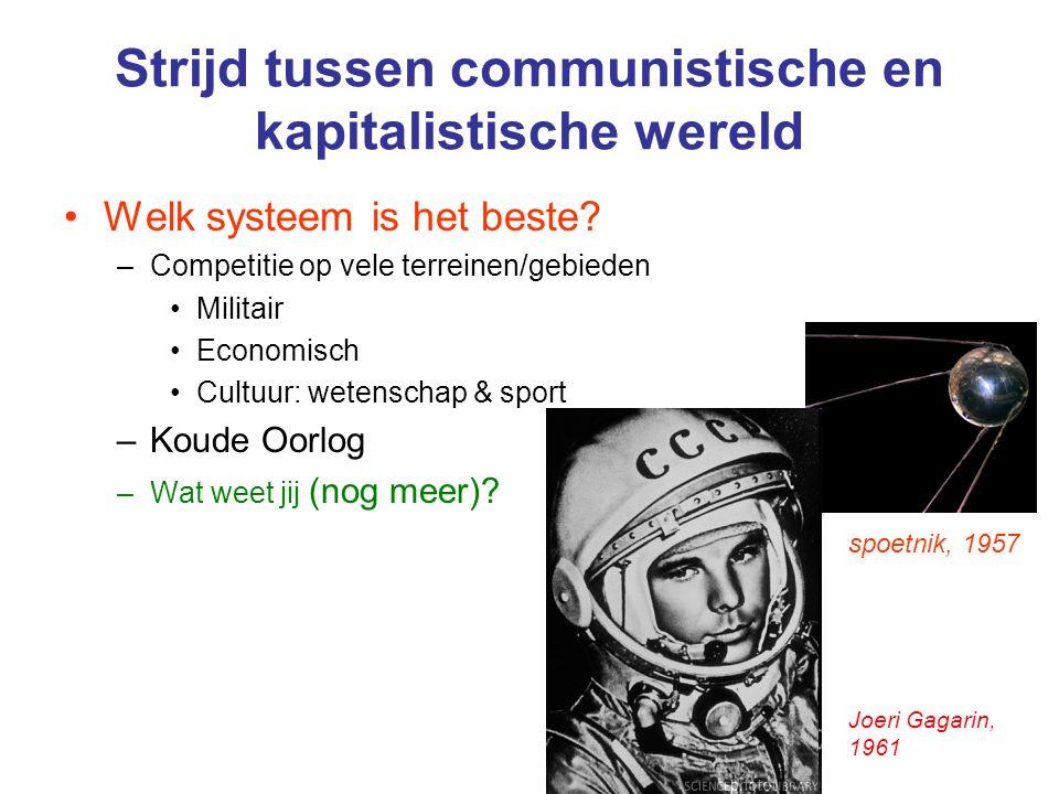 Strijd tussen communistische en kapitalistische wereld Welk systeem is het beste? –Competitie op vele terreinen/gebieden Militair Economisch Cultuur: