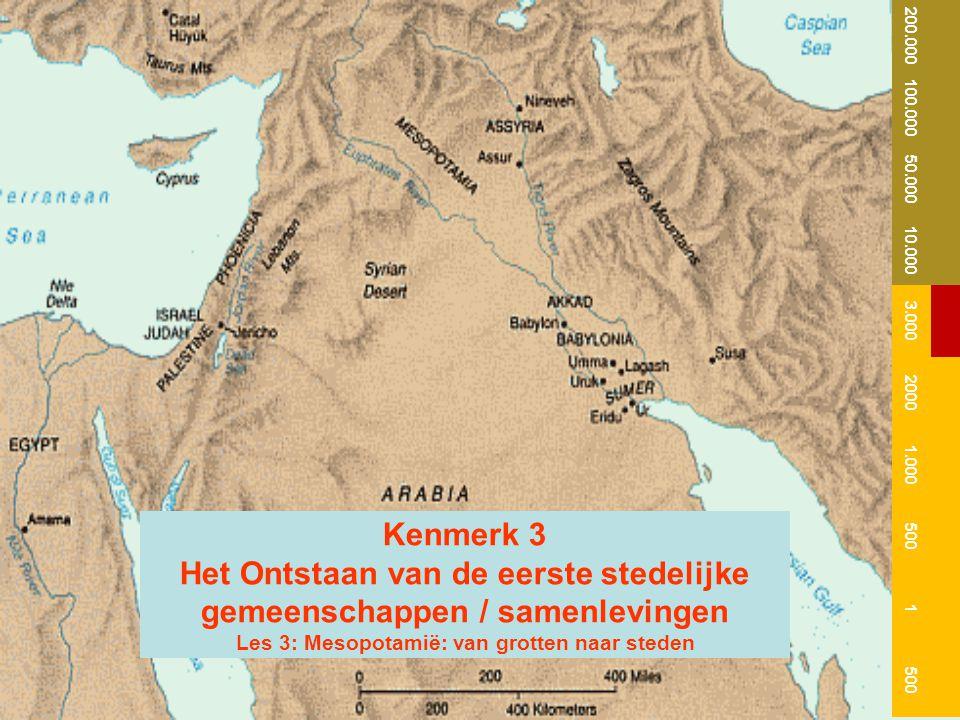 Kenmerk 3 Het Ontstaan van de eerste stedelijke gemeenschappen / samenlevingen Les 3: Mesopotamië: van grotten naar steden 200.000 100.000 50.000 10.0