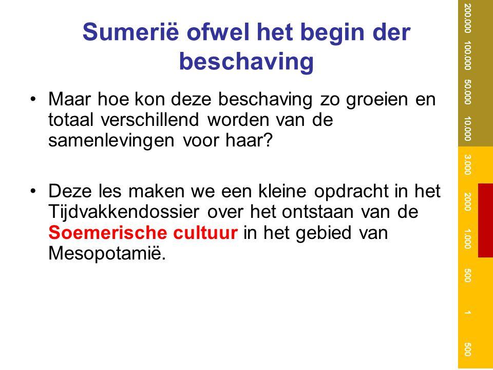 Sumerië ofwel het begin der beschaving Maar hoe kon deze beschaving zo groeien en totaal verschillend worden van de samenlevingen voor haar? Deze les