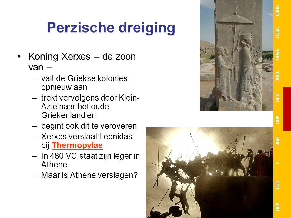 Salamis, of hoe Athene toch de Perzen versloeg In hun wanhoop doen de Atheners een beroep op de Goden In Delphi raadplegen zij het orakel Alleen een muur van hout kon de Atheners nog redden Een dubbele list (verzonnen door Themistoclès) –In een zeeslag bij Salamis zouden zij de Perzen verslaan (zie kaart) [strategisch voordeel] –Een Perzische slaaf zou vluchten en koning Xerxes vertellen dat de Atheners overzee wilden vluchten –Een jaar later werd bij Plataeae ook het Perzische landleger verslagen 3000 2000 1500 1000 700 400 200 1 400