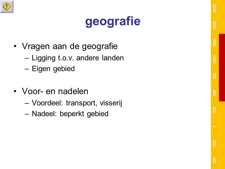 geografie Vragen aan de geografie –Ligging t.o.v. andere landen –Eigen gebied Voor- en nadelen –Voordeel: transport, visserij –Nadeel: beperkt gebied