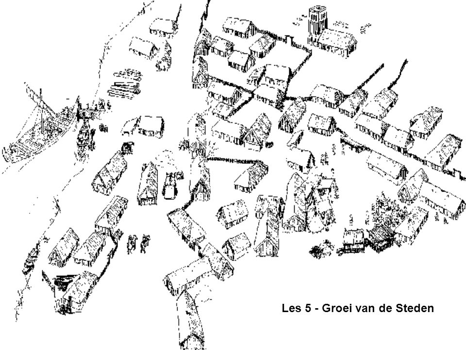 Verval van de stad In de vroege Middeleeuwen verdwenen de meeste Romeinse steden doordat –het Romeinse bestuur verdween (ambtenaren en soldaten) –veel inwoners van geromaniseerde gebieden wegtrokken –de handel (én nijverheid) daarmee verdween –extra productie (lees: handel) van boeren niet zinvol meer was Alles wat de Romeinse hadden opgebouwd/brachten verdween –de munt –Het aanleggen én onderhouden van de infrastructuur –Rust, orde en veiligheid 1100 1150 1200 1250 1300 1350 1400 1450 1500 1550 H6: §3: p105-9