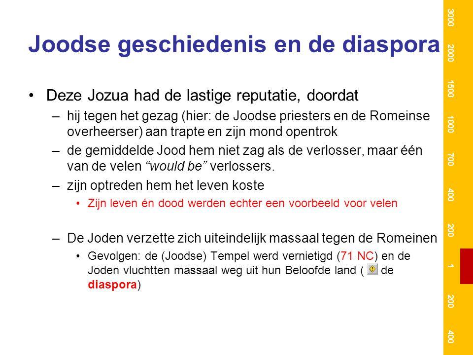 Joodse geschiedenis en de diaspora Deze Jozua had de lastige reputatie, doordat –hij tegen het gezag (hier: de Joodse priesters en de Romeinse overhee