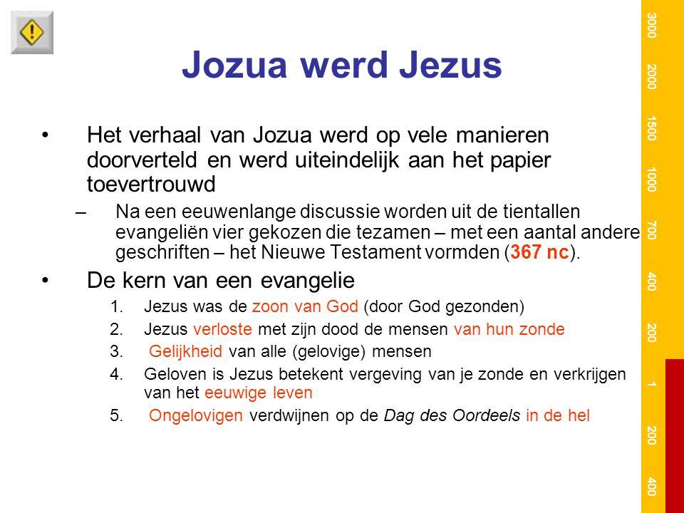 Jozua werd Jezus Het verhaal van Jozua werd op vele manieren doorverteld en werd uiteindelijk aan het papier toevertrouwd –Na een eeuwenlange discussi