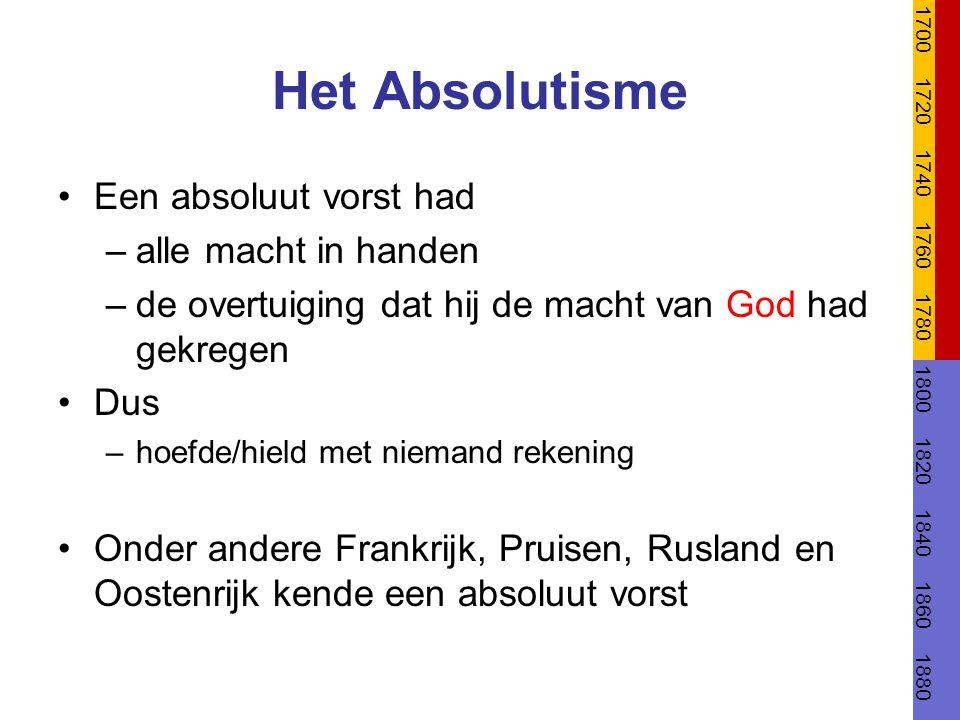 Het Absolutisme Een absoluut vorst had –alle macht in handen –de overtuiging dat hij de macht van God had gekregen Dus –hoefde/hield met niemand reken