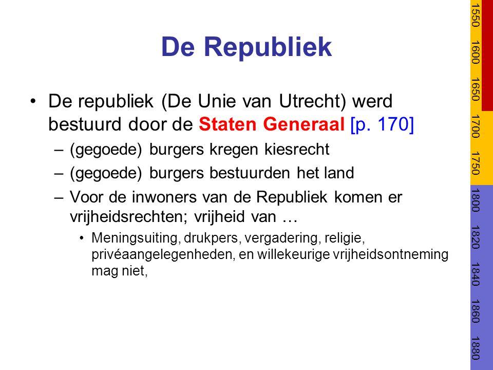 De Republiek De republiek (De Unie van Utrecht) werd bestuurd door de Staten Generaal [p. 170] –(gegoede) burgers kregen kiesrecht –(gegoede) burgers