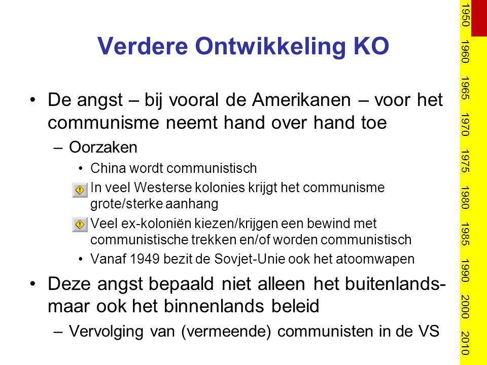 Verdere Ontwikkeling KO De angst – bij vooral de Amerikanen – voor het communisme neemt hand over hand toe –Oorzaken China wordt communistisch In veel