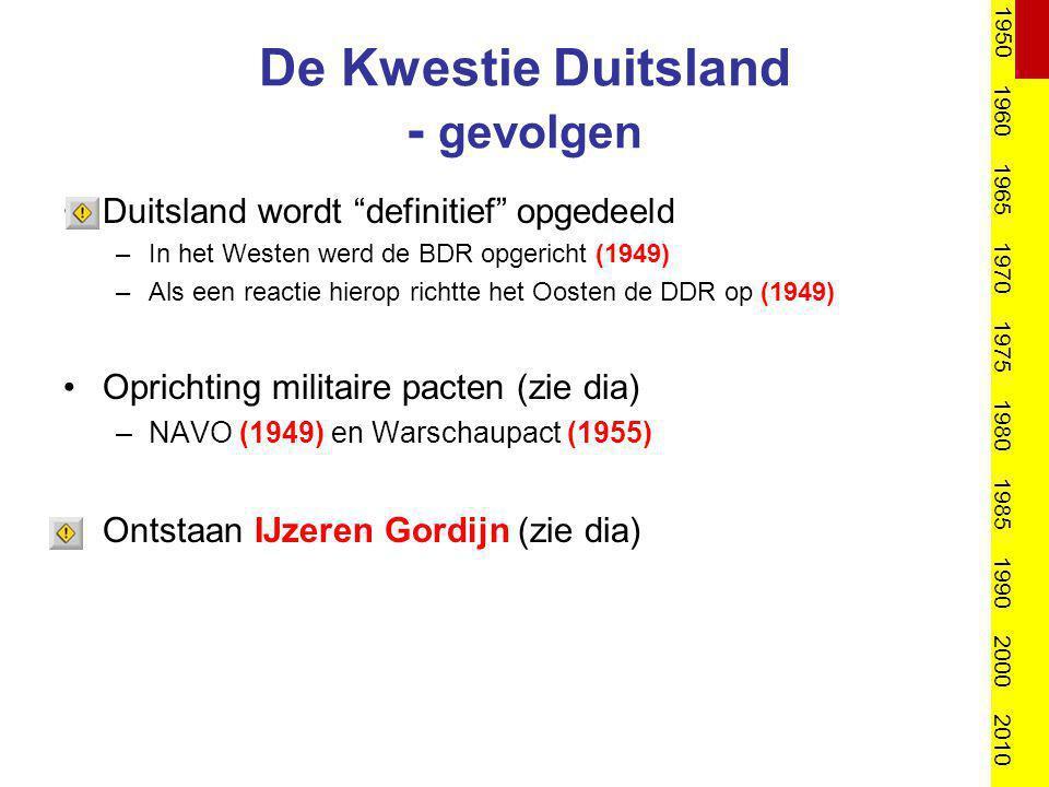 """De Kwestie Duitsland - gevolgen Duitsland wordt """"definitief"""" opgedeeld –In het Westen werd de BDR opgericht (1949) –Als een reactie hierop richtte het"""