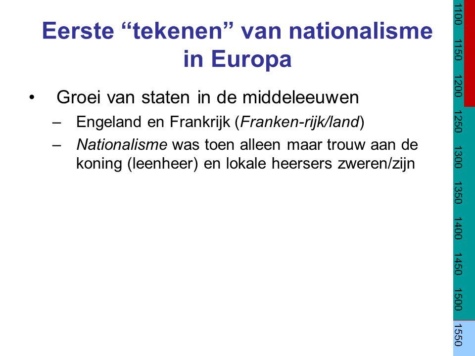"""Eerste """"tekenen"""" van nationalisme in Europa Groei van staten in de middeleeuwen –Engeland en Frankrijk (Franken-rijk/land) –Nationalisme was toen alle"""