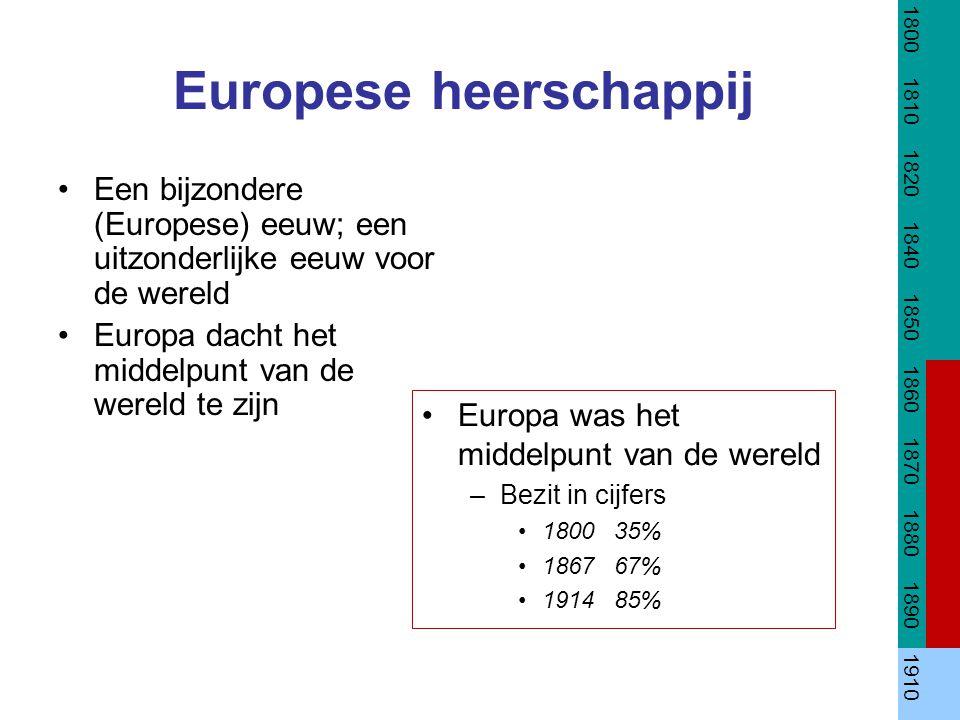 Europese heerschappij Een bijzondere (Europese) eeuw; een uitzonderlijke eeuw voor de wereld Europa dacht het middelpunt van de wereld te zijn 1800 18