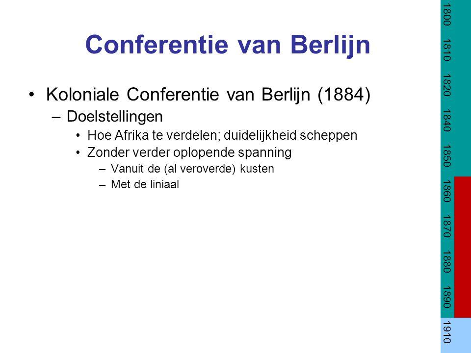 Conferentie van Berlijn Koloniale Conferentie van Berlijn (1884) –Doelstellingen Hoe Afrika te verdelen; duidelijkheid scheppen Zonder verder oplopend