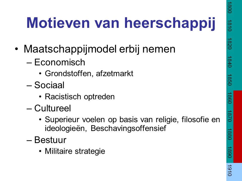 Motieven van heerschappij Maatschappijmodel erbij nemen –Economisch Grondstoffen, afzetmarkt –Sociaal Racistisch optreden –Cultureel Superieur voelen