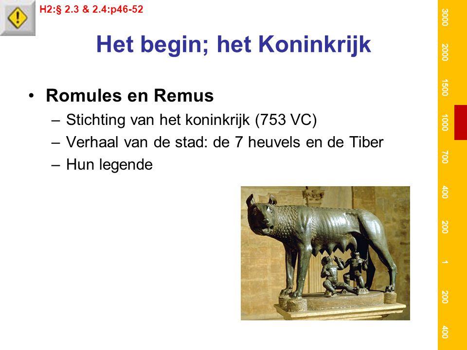 Het begin; het Koninkrijk Romules en Remus –Stichting van het koninkrijk (753 VC) –Verhaal van de stad: de 7 heuvels en de Tiber –Hun legende H2:§ 2.3