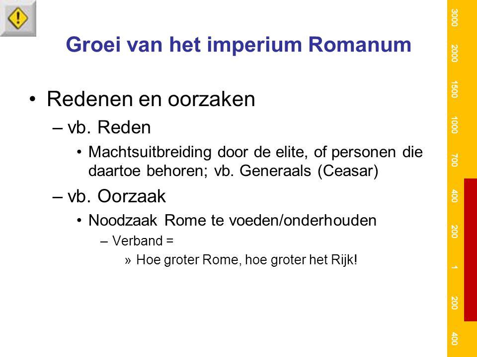 Groei van het imperium Romanum Redenen en oorzaken –vb. Reden Machtsuitbreiding door de elite, of personen die daartoe behoren; vb. Generaals (Ceasar)