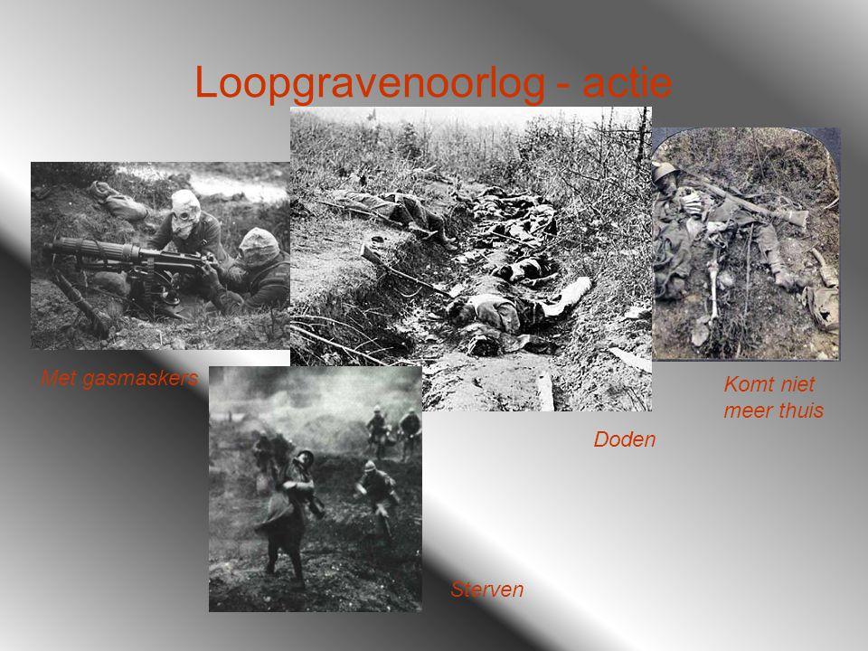 Loopgravenoorlog - actie Met gasmaskers Komt niet meer thuis Doden Sterven