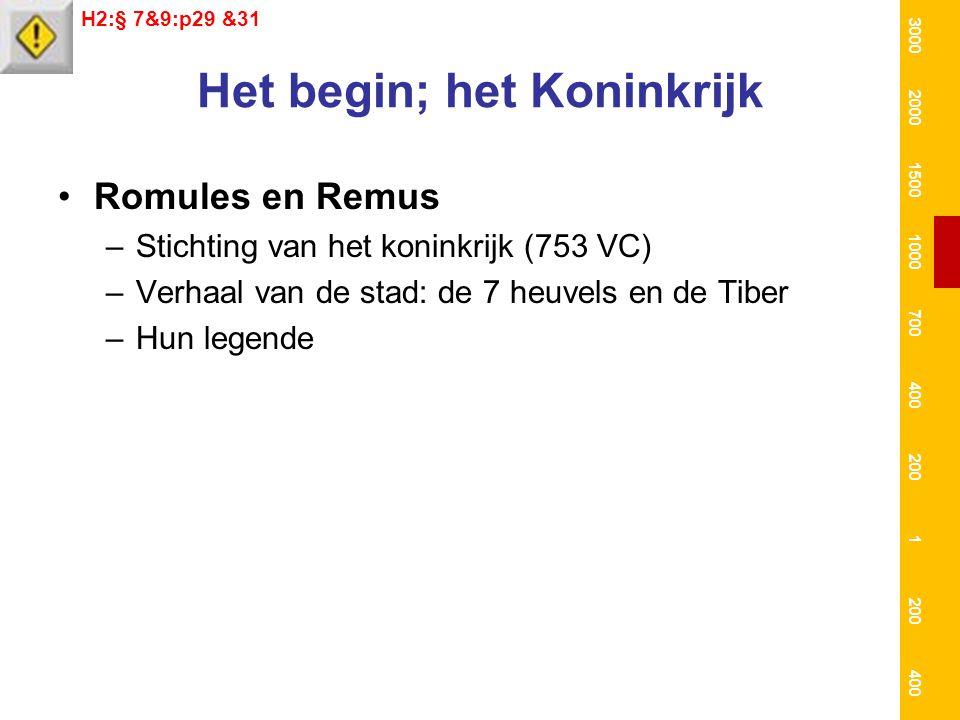 Het begin; het Koninkrijk Romules en Remus –Stichting van het koninkrijk (753 VC) –Verhaal van de stad: de 7 heuvels en de Tiber –Hun legende H2:§ 7&9