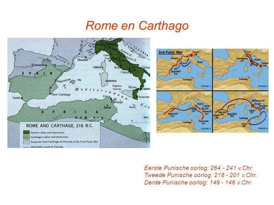 Rome en Carthago Eerste Punische oorlog: 264 - 241 v.Chr. Tweede Punische oorlog: 218 - 201 v.Chr. Derde Punische oorlog: 149 - 146 v.Chr.