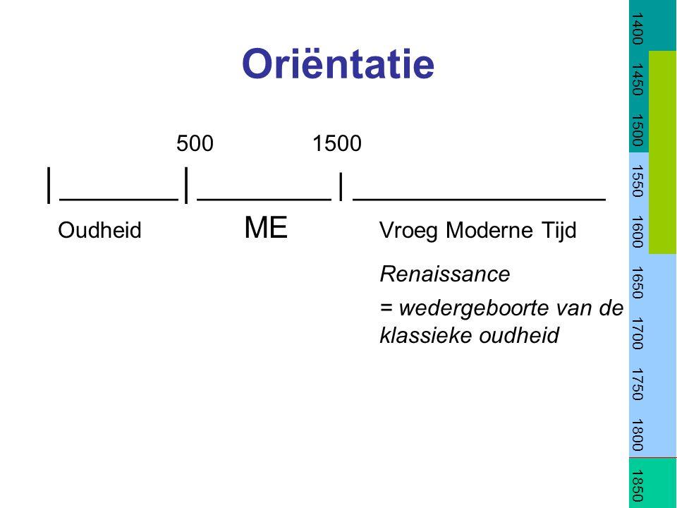 Oriëntatie 5001500 │_______│________ | _______________ Oudheid ME Vroeg Moderne Tijd Renaissance = wedergeboorte van de klassieke oudheid